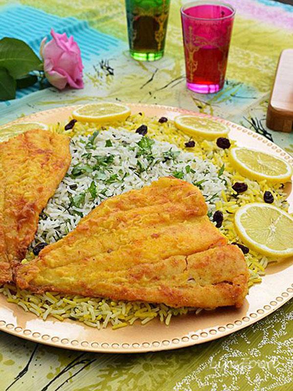 سبزی پلو با ماهی غذای شب عید